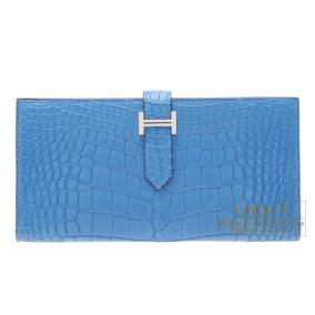 Hermes Bearn wallet with gusset Mykonos/Mykonos Blue Matt alligator crocodile skin Silver hardware