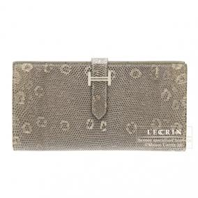 Hermes Bearn wallet with gusset Ombre/Shadow Natural lizard skin Silver hardware