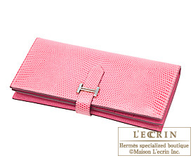 Hermes Bearn wallet with gusset Pink Lizard skin Silver hardware