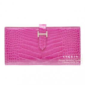 Hermes Bearn wallet with gusset Rose Scheherazade Alligator crocodile skin Silver hardware