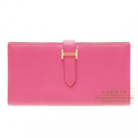 Hermes Bearn wallet with gusset Rose Tyrien/Hot pink Chevre goatskin Gold hardware