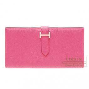 Hermes Bearn wallet with gusset Rose Tyrien/Hot pink Chevre goatskin Silver hardware