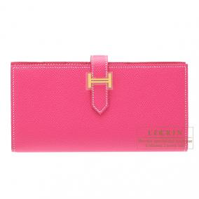 Hermes Bearn wallet with gusset Rose Tyrien/Hot pink Epsom leather Gold hardware