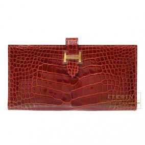 Hermes Bearn wallet with gusset Rouge H/Dark red Alligator crocodile skin Gold hardware