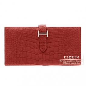 Hermes Bearn wallet with gusset Rouge H/Dark red Matt alligator crocodile skin Silver hardware