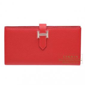 Hermes Bearn wallet with gusset Rouge casaque/Bright red Chevre goatskin Silver hardware