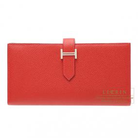 Hermes Bearn wallet with gusset Rouge casaque/Bright red Epsom leather Silver hardware