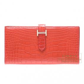Hermes Bearn wallet with gusset Rouge indien/Indian red Matt alligator crocodile skin Silver hardwar