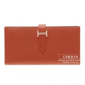 Hermes Bearn wallet with gusset Rouge venitienne/Venetian red Epsom leather Silver hardware