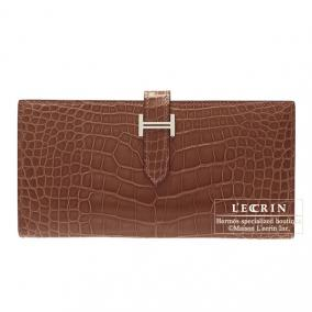 Hermes Bearn wallet with gusset Terre/Dark brown Alligator crocodile skin Silver hardware