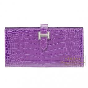Hermes Bearn wallet with gusset Ultraviolet Alligator crocodile skin Silver hardware