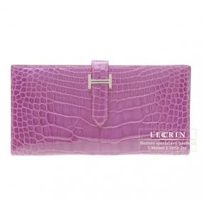 Hermes Bearn wallet with gusset Violet/Purple Alligator crocodile skin Silver hardware