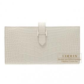 Hermes Bearn wallet with gusset  Beton/Beton light grey Matt alligator crocodile skin  Silver hardwa