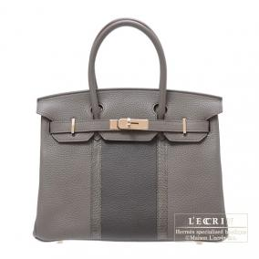 Hermes Birkin Club bag 30 Tri-color Etain/Graphite/Gris fonce Clemence leather with lizard skin Cham