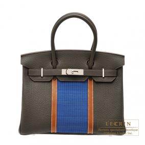 Hermes Birkin Club bag 30 Tri-color Vert Bronze/Blue thalassa/Fauve Fjord leather with Ottomane Silv