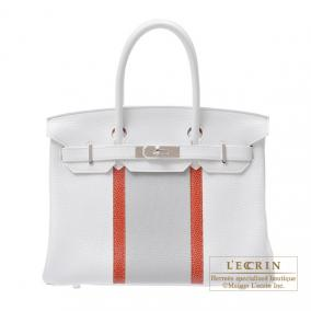 Hermes Birkin Club bag 30 Tri-color White/Sanguine/Pearl grey Clemence leather with lizard skin Silv
