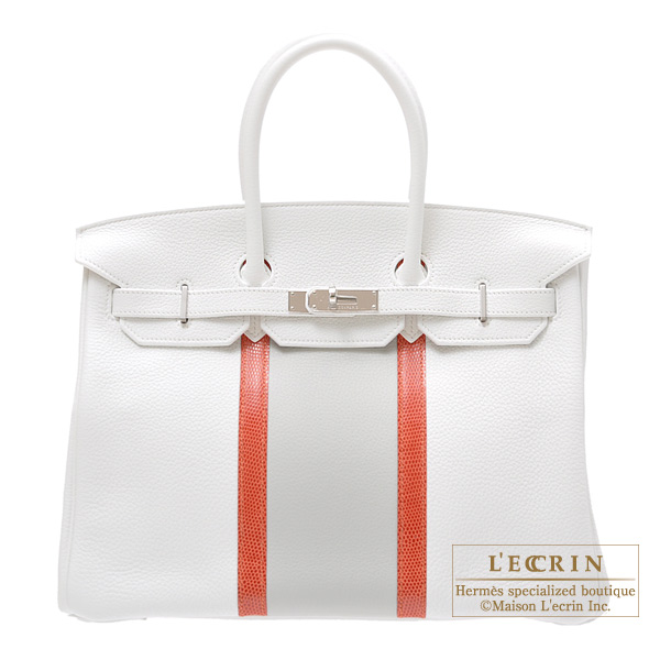 Hermes Birkin Club bag 35 Tri-color White/Sanguine/Pearl greyClemence leather with lizard skinSilver