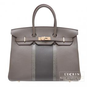 Hermes Birkin Club bag 35 Tri-color Etain/Graphite/Gris fonce Clemence leather with lizard skin Cham