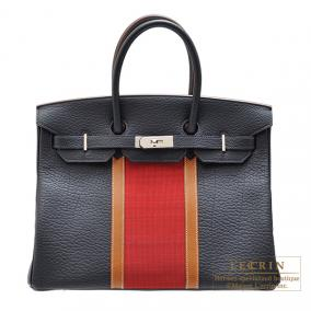 Hermes Birkin Club bag 35 Tri-color Indigo/Rouge casaque/Fauve Fjord leather with Ottomane Silver ha
