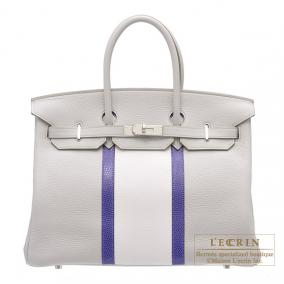 Hermes Birkin Club bag 35 Tri-color Pearl grey/Mykonos blue/White Clemence leather with lizard skin