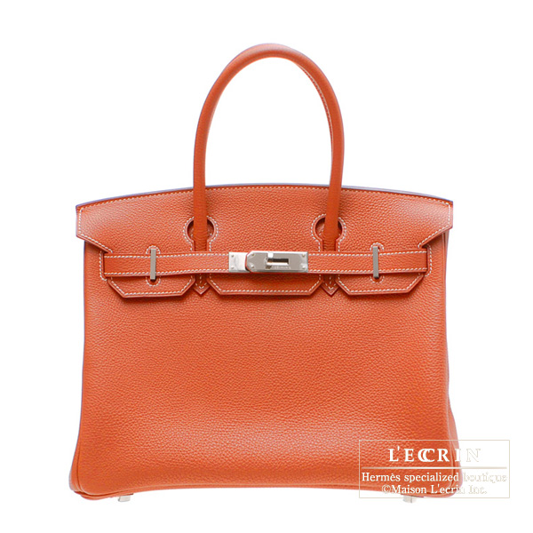 Hermes Birkin Eclat bag 30 Sanguine blood orange/White Clemence leather Silver hardware