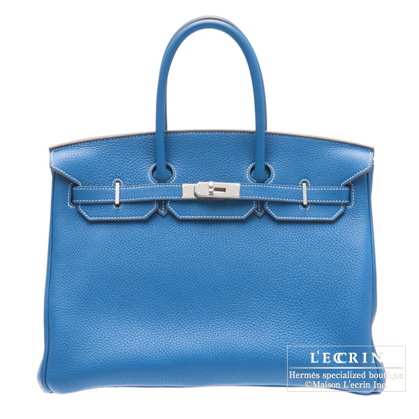 Hermes Birkin Eclat bag 35 Mykonos blue/White Clemence leather Silver hardware