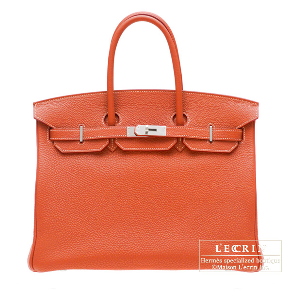 Hermes Birkin Eclat bag 35 Sanguine blood orange/White Clemence leather Silver hardware