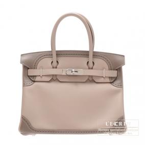 Hermes Birkin Ghillies bag 30 Argile/Taupe grey Swift leather Silver hardware