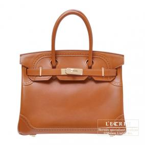 Hermes Birkin Ghillies bag 30 Fauve/Fauve brown Tadelakt leather Champagne Gold hardware