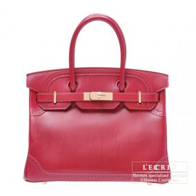 Hermes Birkin Ghillies bag 30 Ruby/Dark red Tadelakt leather Champagne Gold hardware