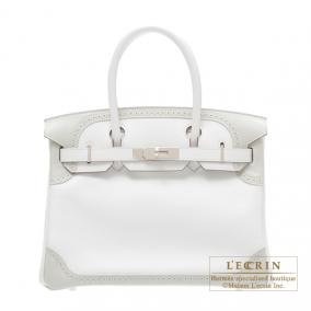 Hermes Birkin Ghillies bag 30 White/ Pearl grey Swift leather Silver hardware