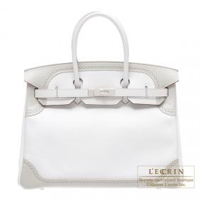 Hermes Birkin Ghillies bag 35 White/ Pearl grey Swift leather Silver hardware