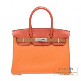 Hermes Birkin arlequin bag 30 Orange/Etain grey/Sanguine Clemence leather Silver hardware