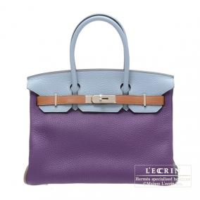 Hermes Birkin arlequin bag 30 Ultraviolet/Etain grey/Linen blue Clemence leather Silver hardware