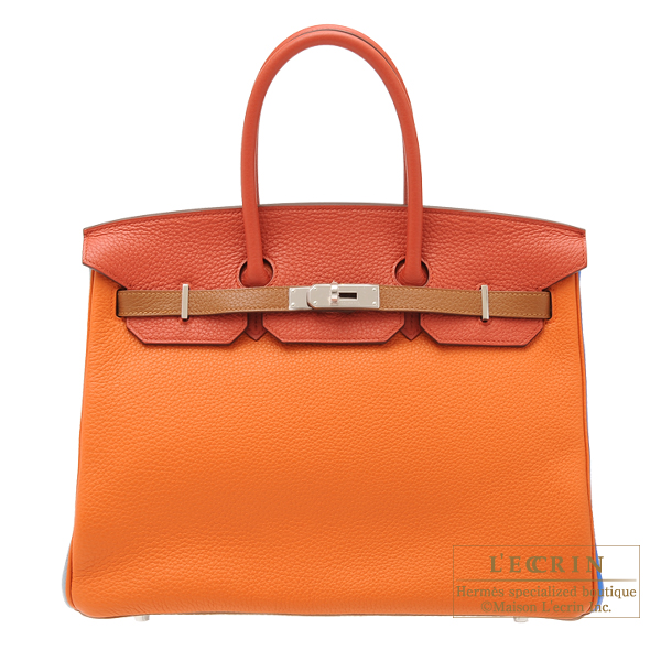 ec7e59b2da46 Hermes Birkin arlequin bag 35 Orange Etain grey Sanguine Clemence leather  Silver hardware