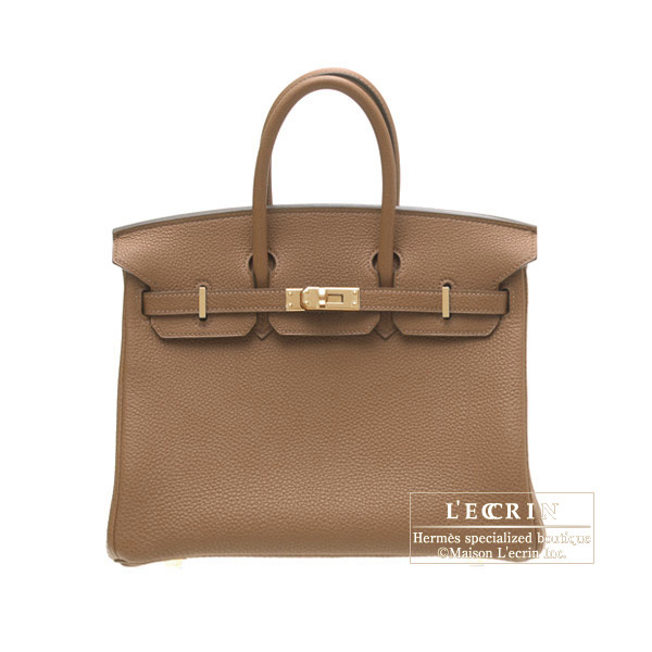 Hermes Birkin bag 25Alezan/Chestnut brown Togo leatherGold hardware