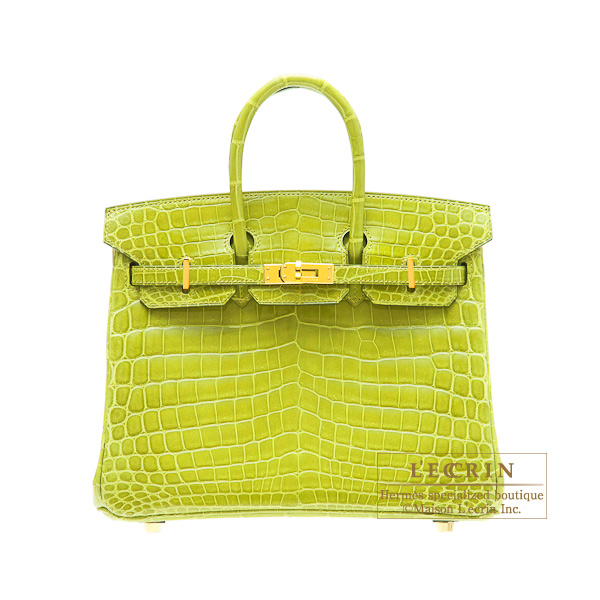 Hermes Birkin bag 25Anis green niloticus crocodile skin Gold hardware