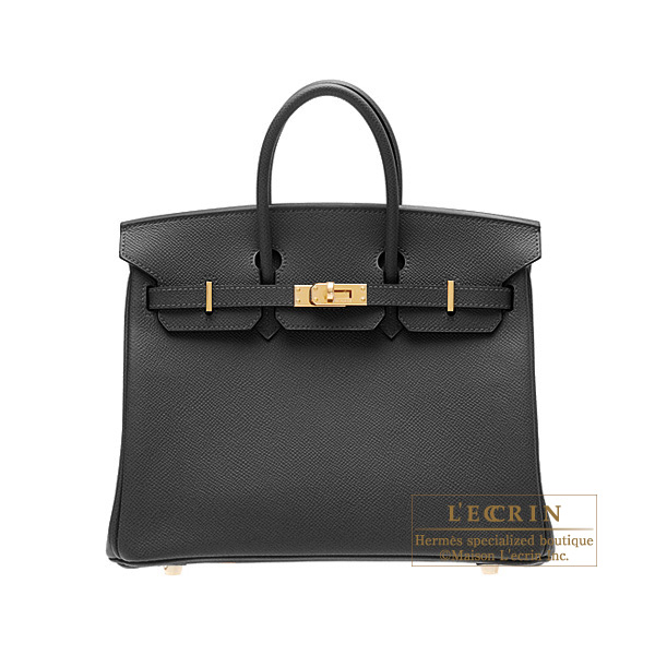 Hermes Birkin bag 25Black Epsom leather Gold hardware