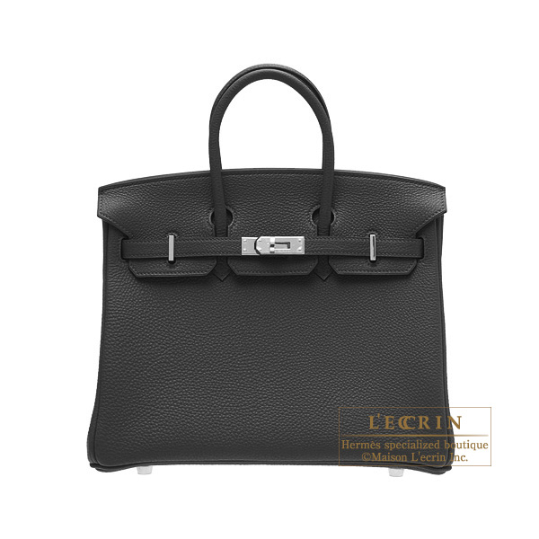 Hermes Birkin bag 25Black Togo leatherSilver hardware