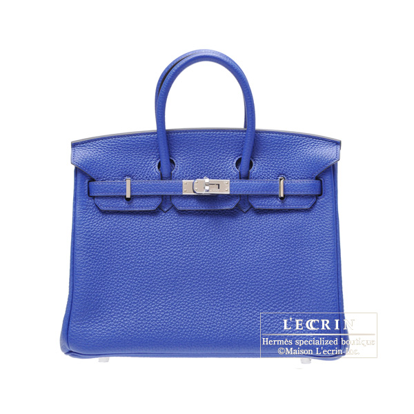 Hermes Birkin bag 25Blue Electric Togo leatherSilver hardware