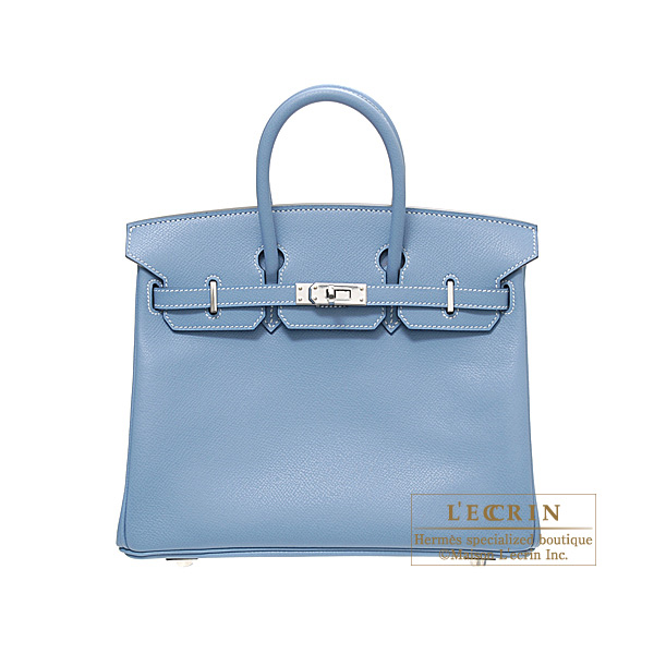 Hermes Birkin bag 25Blue jean Epsom leather Silver hardware