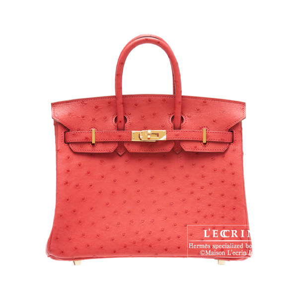 Hermes Birkin bag 25 Bougainvillier Ostrich leather Gold hardware