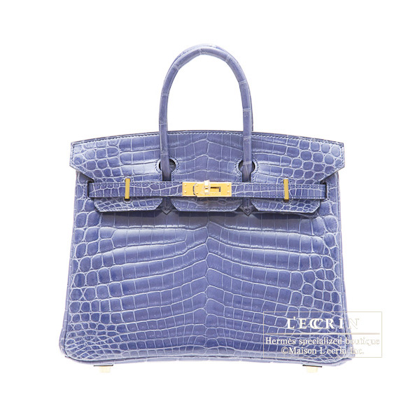 Hermes Birkin bag 25 Brighton blue niloticus crocodile skin Gold hardware