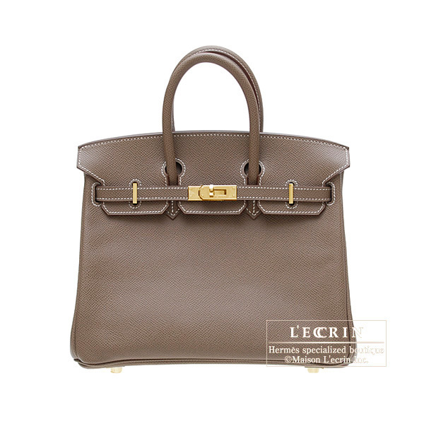 Hermes Birkin bag 25Etoupe/Taupe grey Epsom leather Gold hardware