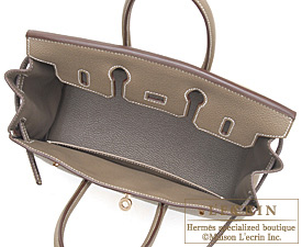 4dec08b38a Hermes Birkin bag 25 Etoupe Taupe grey Togo leather Gold hardware
