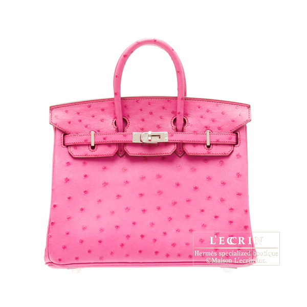 Hermes Birkin bag 25Fuschia pink Ostrich leather Silver hardware
