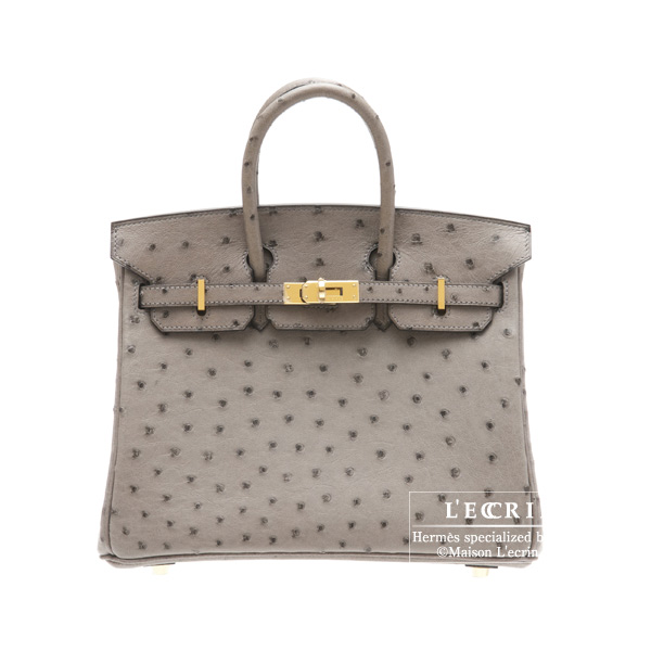 Hermes Birkin bag 25Gris tourterelle/Mouse grey Ostrich leather Gold hardware
