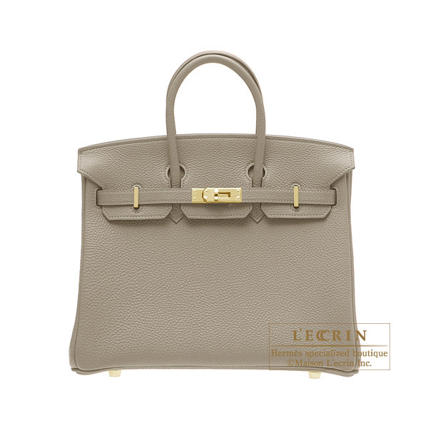 Hermes Birkin bag 25Gris tourterelle/Mouse grey Togo leatherGold hardware