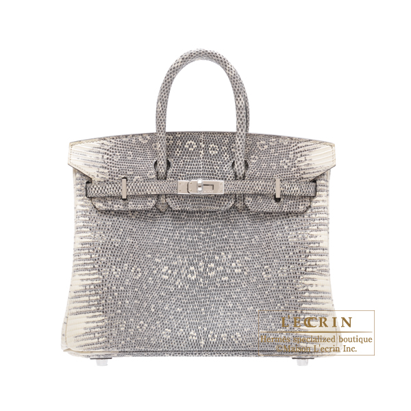Hermes Birkin bag 25 Ombre/Shadow Natural lizard skin Silver hardware