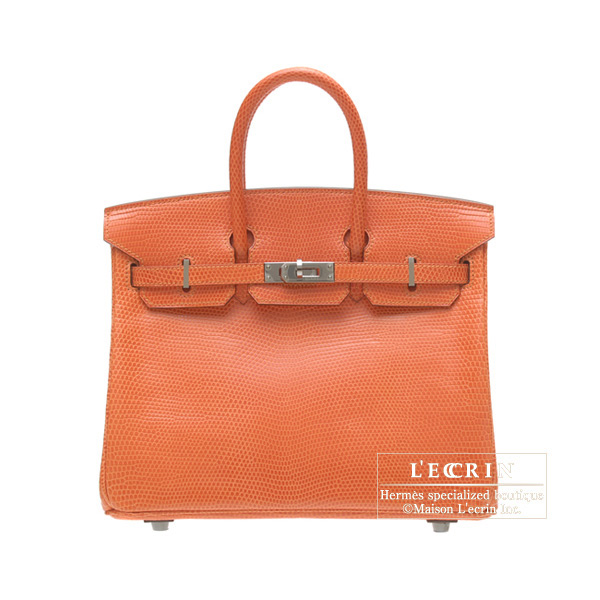 Hermes Birkin bag 25Orange Lizard Ruthenium hardware